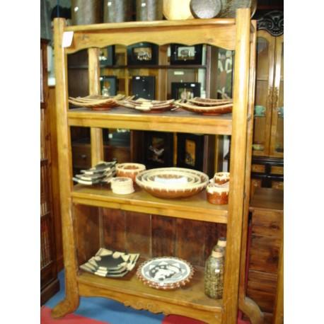 Estanteria realizada en madera de teca maciza barnizada color oscuro
